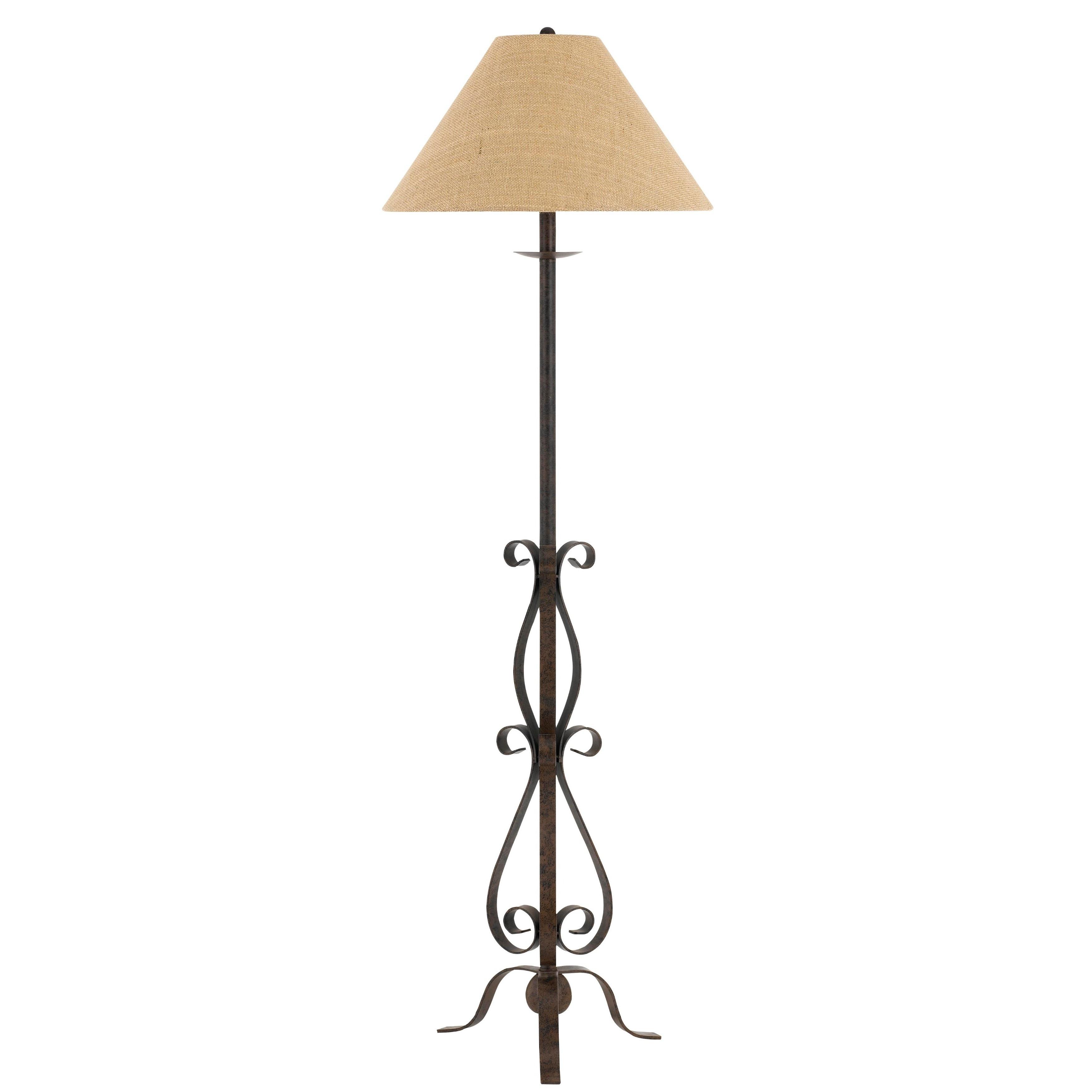 hot sale online 70302 6a8ad Ekalaka Tan Wrought Iron Floor Lamp with Burlap Shade