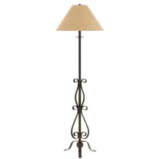 Ekalaka Tan Wrought Iron Floor Lamp with Burlap Shade