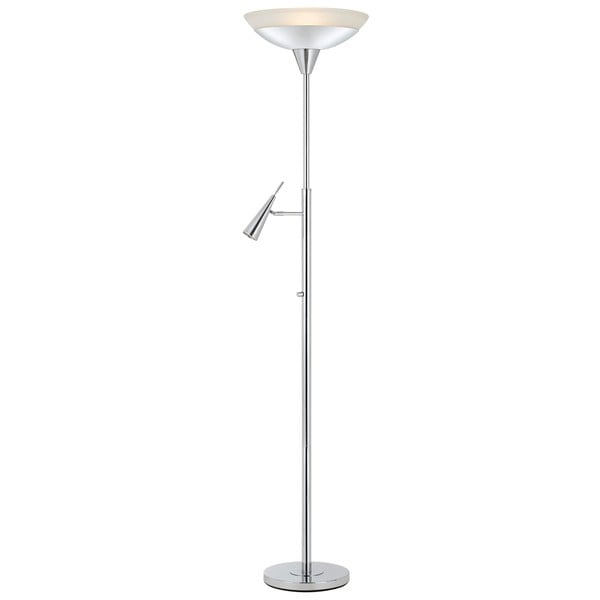 Metal/Glass 38-watt and 6-watt LED Torchiere Reading Lamp