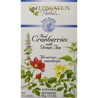 Celebration Herbals Pure Quality Real Cranberries with Green Tea Tea Bags