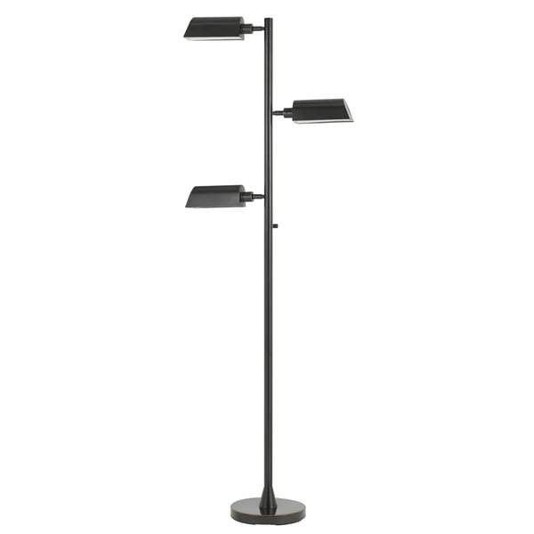 Black Metal 3-light LED Swivel Floor Lamp