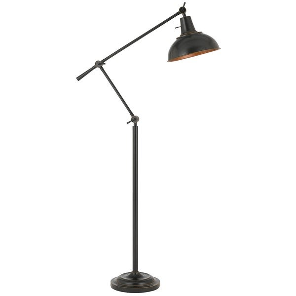 Eupen 100 Watt Metal Adjustable Floor Lamp With Metal Shade In Bronze Finish