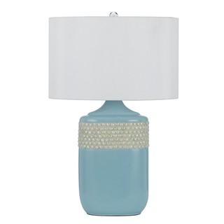 White/Blue Ceramic/Silk Table Lamp (Set of 2)