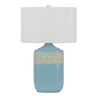 White/Blue Ceramic/Silk Table Lamp (Set of 2)