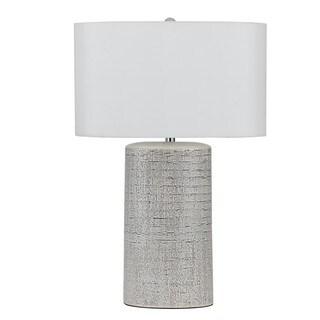 Grey Ceramic/Off-white Faux Silk 150-watt Table Lamp Pair