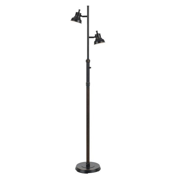 7-watt LED 2-light Black Metal Floor Lamp