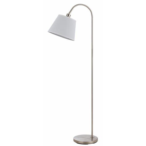 Covington Brushed Steel and White Shade 60-watt Floor Lamp