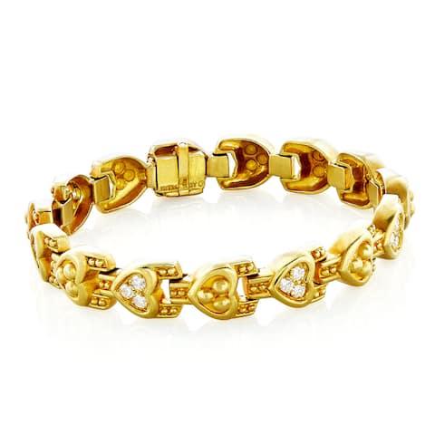 Judith Ripka 18k Yellow Gold 1ct TDW Heart Link Estate Bracelet (H-I, VS1-VS2)