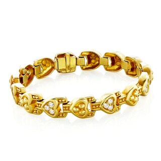 Judith Ripka 18k Yellow Gold 1ct TDW Heart Link Estate Bracelet (H-I, VS1-VS2)