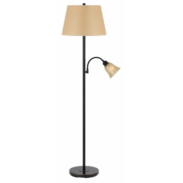 Brown/Off-white Bronze-finished Metal Two-light Floor Lamp