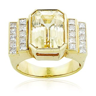 18k Yellow Gold 3/4ct TDW Diamonds and Topaz Deco Style Estate Cocktail Ring Size 7 (G-H, SI1-SI2)
