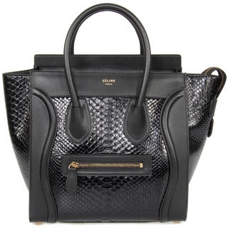 Celine Micro Luggage Black Python Tote Bag