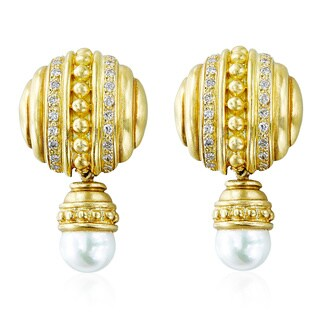 18K Yellow Gold 3/5ct TDW White Diamond Hanging Pearl Button Carved Clip Estate Earrings (G-H, SI1-SI2)