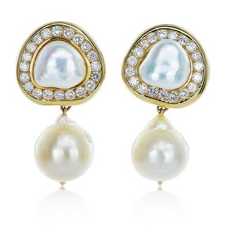 18k Yellow Gold 3 1/2ct TDW Diamond and Pearl Hanging Clip Estate Earrings (G-H, VS1-VS2)