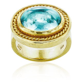 20k Yellow Gold Oval Top Aquamarine Estate Ring