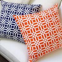 Artisan Pillows Indoor 20-inch Vivid Lattice in Navy Blue or Orange Throw Pillow