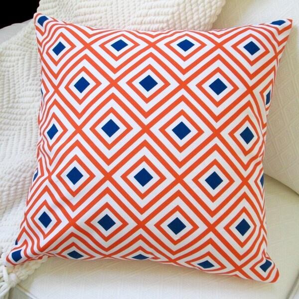 Artisan Pillows Geo Pop Diamonds Orange and Navy Polyester Indoor 20-inch Throw Pillow