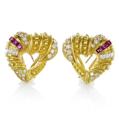 18K Yellow Gold 1 3/4ct TDW White Diamonds and Ruby Carved Heart Clip Earrings (G-H, VS1-VS2)