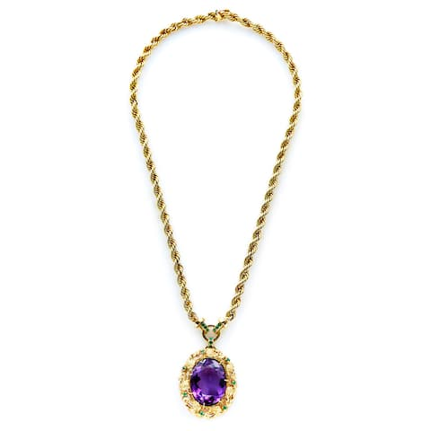 14k Yellow Gold Amethyst and Emerald Estate Pendant Necklace