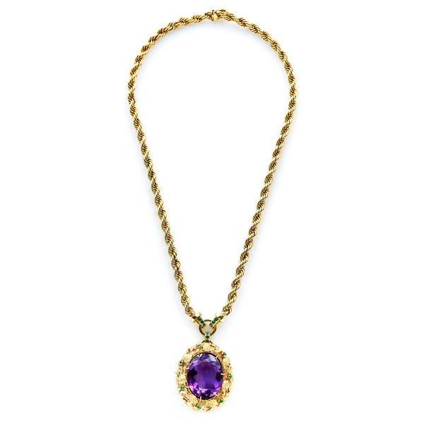 14k Yellow Gold Amethyst And Emerald Estate Pendant Necklace by Generic