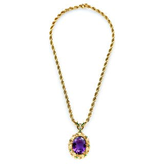 14k Yellow Gold Amethyst and Emerald Estate Pendant Necklace https://ak1.ostkcdn.com/images/products/13682637/P20346745.jpg?impolicy=medium