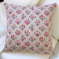 Artisan Pillows Oriental Hand Fan Multicolored Cotton 20-inch Traditional Throw Pillow Cover