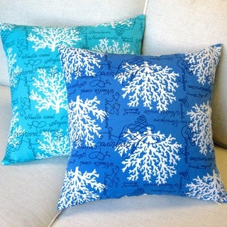Artisan Pillows 18-inch Sea Reef in Blue or Turquoise Throw Pillow (Set of 2)