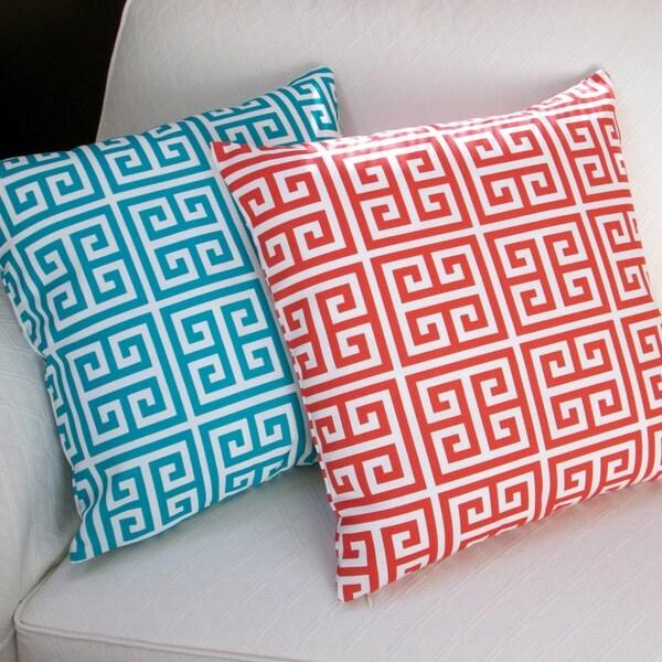 Artisan Pillows Outdoor 18-inch Greek Key Blue or Orange Throw Pillow (Set of 2)