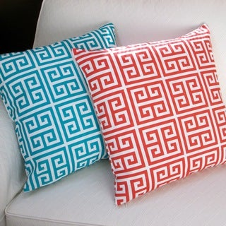 Artisan Pillows Outdoor 18-inch Greek Key Blue or Orange Throw Pillow (Set of 2)