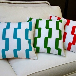 Artisan Pillows Indoor/Outdoor 18-inch Rhyme Modern Geometric Stripe in Blue, Green, and Red Throw Pillows (Set of 2)