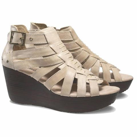 Cat by Caterpillar Womens Parasio Tan Leather Wedge Sandals