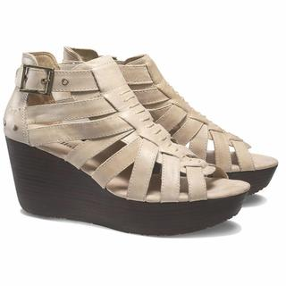 Cat by Caterpillar Women's Parasio Tan Leather Wedge Sandals