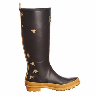 Joules Welly Print Black Synthetic Rubber Tall Rain Boots