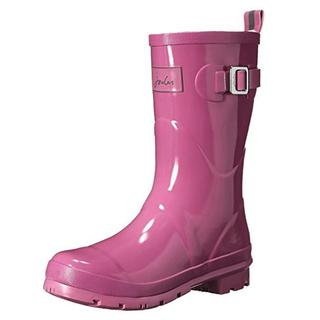 Joules Women's Kelly Welly Neon Mauve Synthetic Rubber US Size 7 Low-heel Mid-height Rain Boots