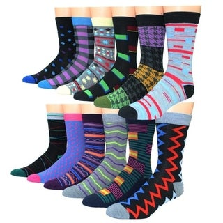 Frenchic Men's Multicolor Cotton-blend Printed Casual Dress Socks (Set of 12 Pairs)