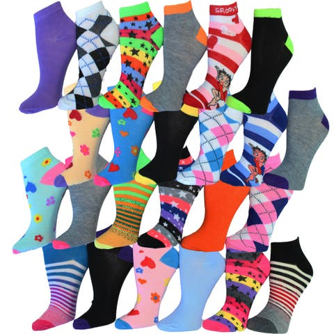 Frenchic Women's No Show Ankle Multicolored Cotton and Spandex Socks (Pack of 24 Pairs)