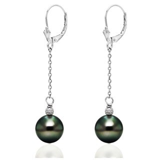 DaVonna 14k White Gold 9-9.5mm Round Black Tahitian Pearl Cable Chain Lever-back Earrings