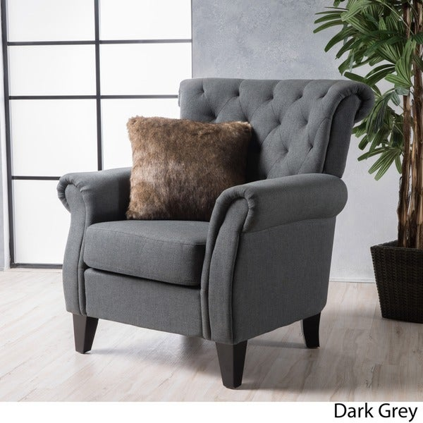 Merritt High Back Tufted Fabric Club Chair By Christopher Knight Home    Free Shipping Today   Overstock.com   20346919