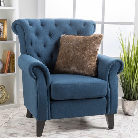 Merritt High Back Tufted Fabric Club Chair by Christopher Knight Home
