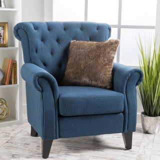 Link to Merritt High Back Tufted Fabric Club Chair by Christopher Knight Home Similar Items in Accent Chairs