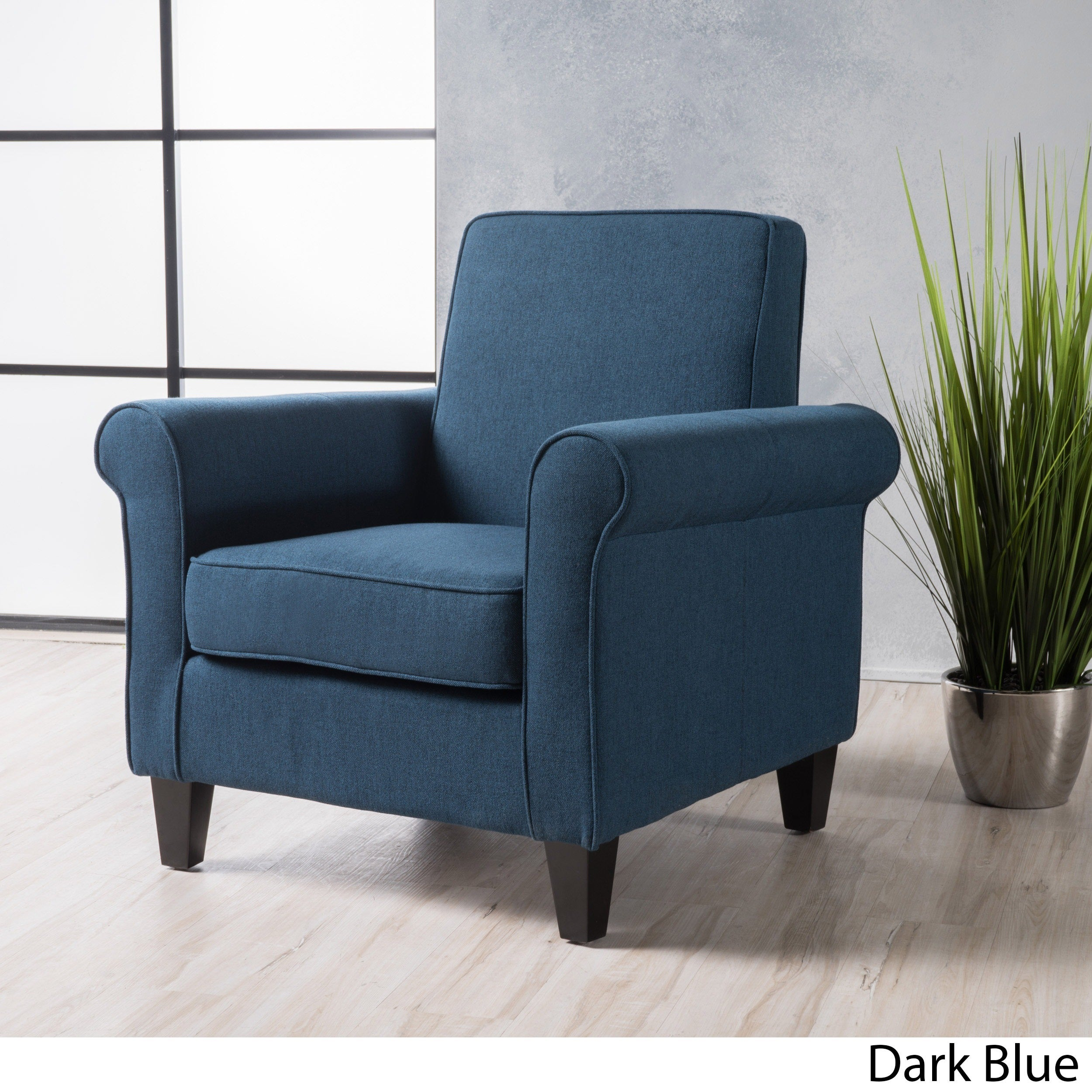 Freemont Fabric Club Chair By Christopher Knight Home (Option: Dark Blue)