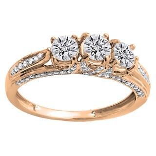 10k Rose Gold 1ct TDW Round Diamond Vintage Bridal 3-stone Engagement Ring (H-I, I1-I2)