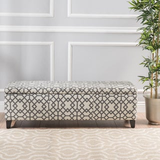 Glouster Geometric Fabric Storage Ottoman Bench by Christopher Knight Home