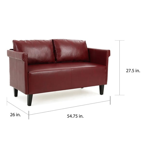 """Bellerose Faux Leather Loveseat Settee Sofa by Christopher Knight Home - 27.50""""H x 54.75""""W x 26""""D"""