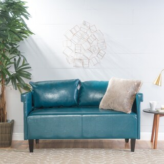 Bellerose Faux Leather Loveseat Settee Sofa by Christopher Knight Home (Option: Teal)