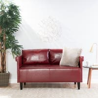 "Bellerose Faux Leather Loveseat Settee Sofa by Christopher Knight Home - 27.50""H x 54.75""W x 26""D"