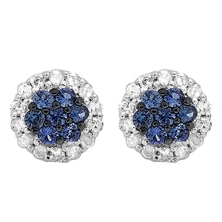 10k White Gold 1/3ct TW Blue Sapphire and White Diamond Cluster Flower Stud Earrings (I-J, I2-I3 )
