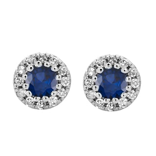 10k White Gold 1/5ct TW Round Blue Sapphire and Diamond Cluster Halo Stud Earrings (I-J, I2-I3 )