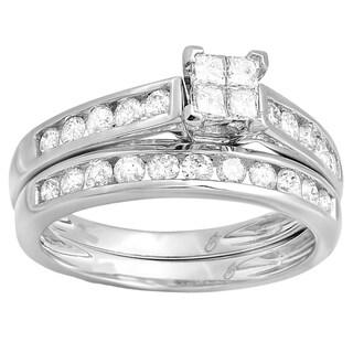 10k Gold 1ct TDW Princess and Round Diamond Bridal Band Set