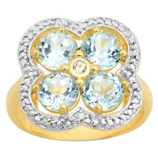 Yellow Gold over Silver Round Blue and White Topaz Cluster Ring (I1-I2)